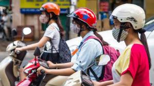 bikers in vietnam with masks